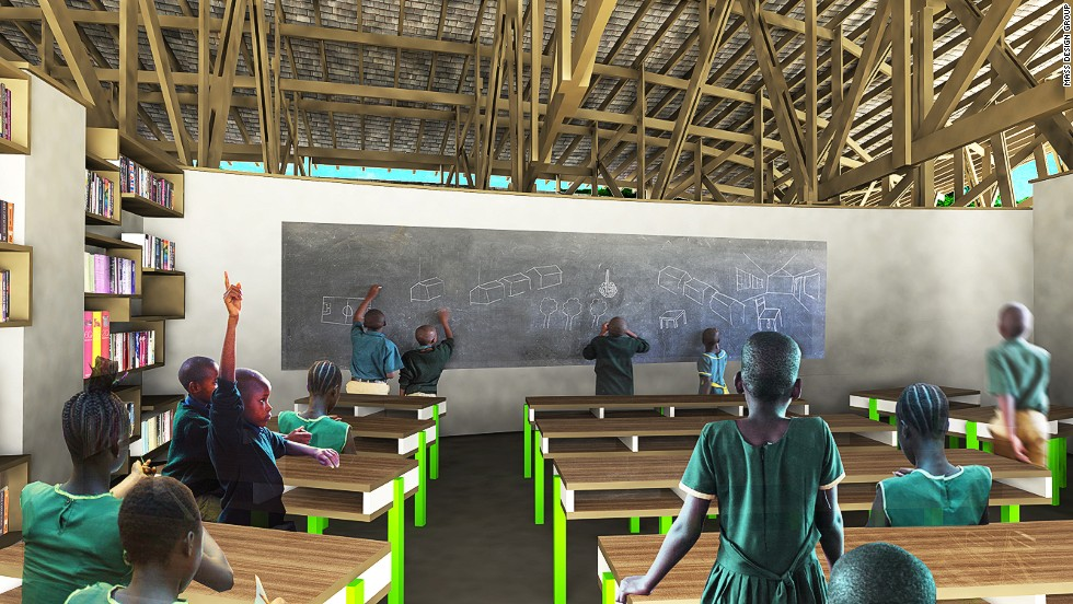 The school is built primarily from mud bricks and local hardwood. MASS Design tested different soils and palm oils in the region to find which combination of ingredients would yield the most durable bricks.