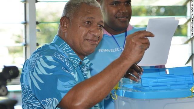 "Fiji's leader Voreqe ""Frank"" Bainimarama casts his vote in the country's first election in eight years."