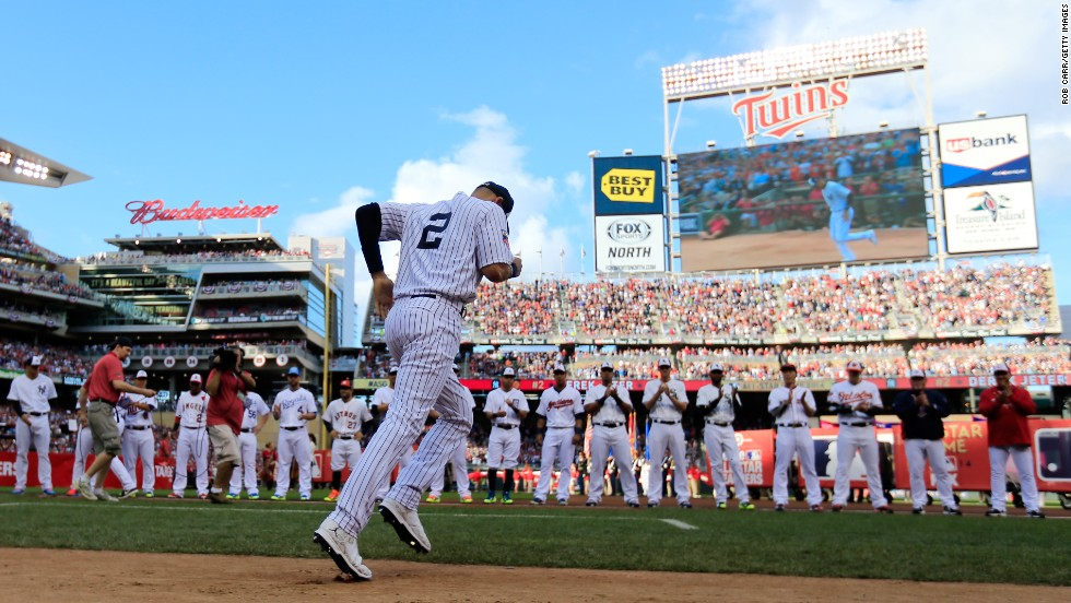 Jeter is introduced to the crowd at Minnesota's Target Field before playing in his final All-Star Game in July 2014.