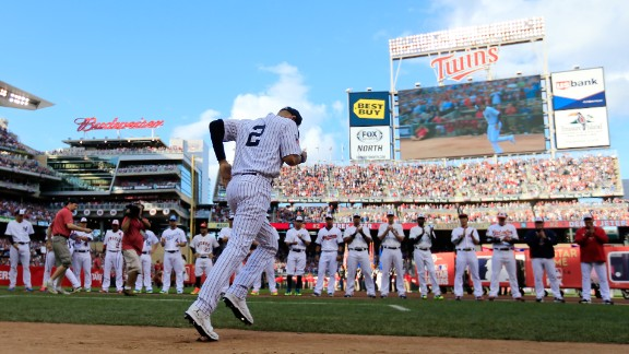 Jeter is introduced to the crowd at Minnesota