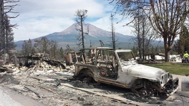 The Boles Fire destroyed trees, homes and other property in the Northern California town of Weed.