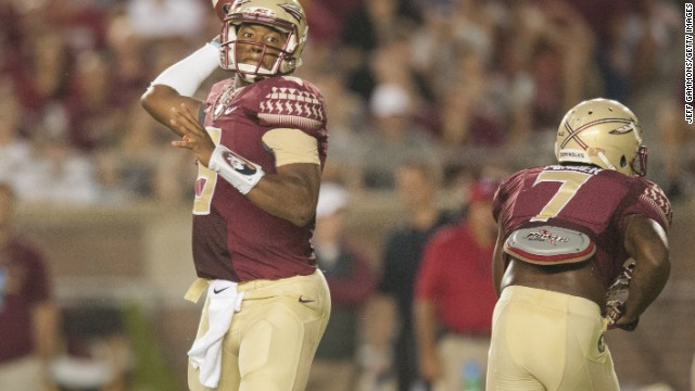 Jameis Winston looks to make a pass during the first half against The Citadel in Tallahassee, Florida.