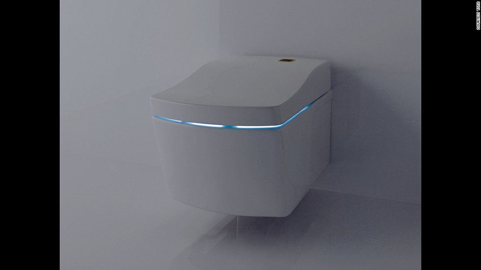The TOTO AC (Actlight) Washlet with self cleaning technology, pictured, has a toilet bowl covered with a special zirconium coating. The UV light integrated in the lid combines with the zirconium coating to trigger a decomposition process, making a toilet brush unnecessary.