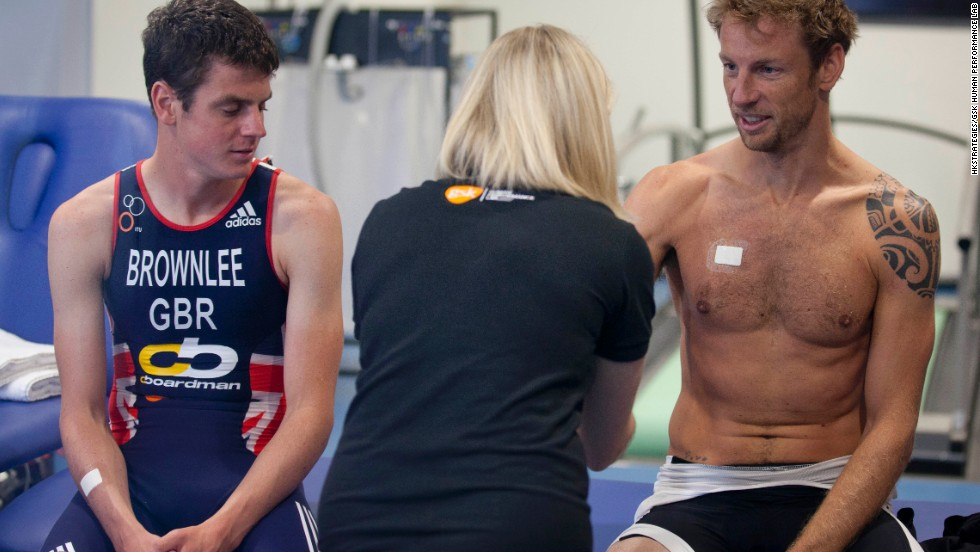 Jonathan Brownlee and Button undergo sweat-patch testing following their arduous cycling test. The HPL scrutinizes sporting performance in six key areas: stamina, strength, cognition, hydration, metabolism and recovery.