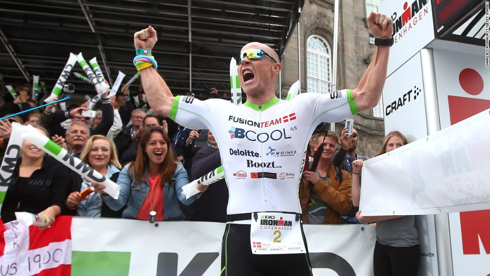 That winning feeling. Henrik Hyldelund of Denmark crosses the line first in his home Ironman in Copenhagen earlier this year.