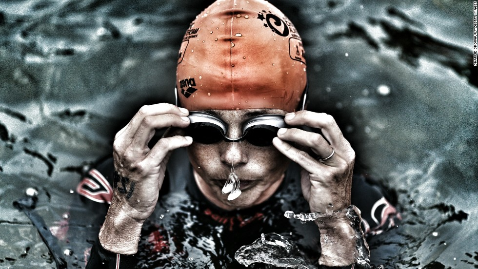 One last deep breath before this competitor prepares to take on chilling waters at the Challenge Almere event in the Netherlands.