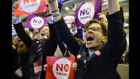 People opposed to Scottish independence celebrate the final results of a historic referendum Friday, September 19, in Edinburgh, Scotland. A majority of voters -- 55% to 45% -- rejected the possibility of Scotland breaking away from the United Kingdom and becoming an independent nation.
