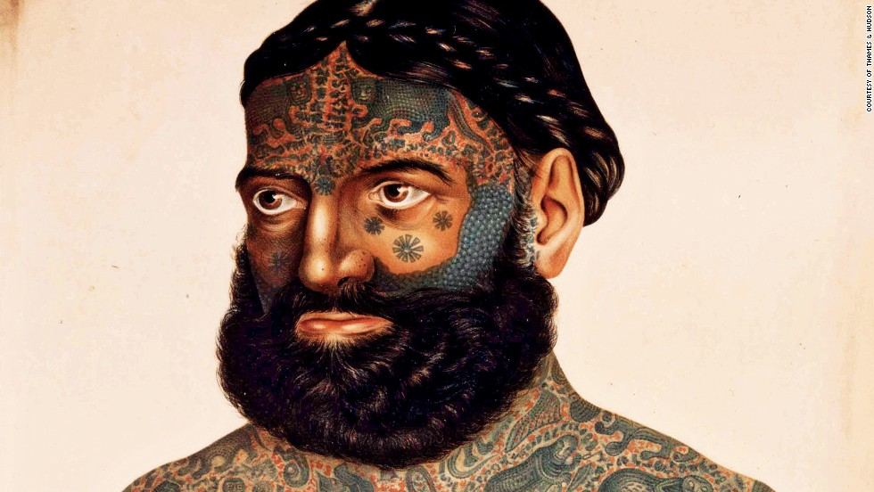"Tattoos have never been more popular, and part of the appeal lies in the rich variety of body-art traditions of the past. This portrait shows a heavily tattooed 19th-century man known as ""the Turk."" He was an act in Barnum's, a European traveling circus. His tattoos were in the Burmese style, and he was said to have been kidnapped by the ""barbarians"" of Asia and forcibly tattooed."