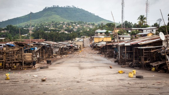 In September, a local market area stands empty as Sierra Leone