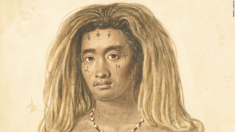 This native of the Pacific island of Tikopia has rectangular chest tattoos thought to have been inspired by flags of passing sailing ships, which were considered symbols of power by indigenous peoples. It dates to 1827.