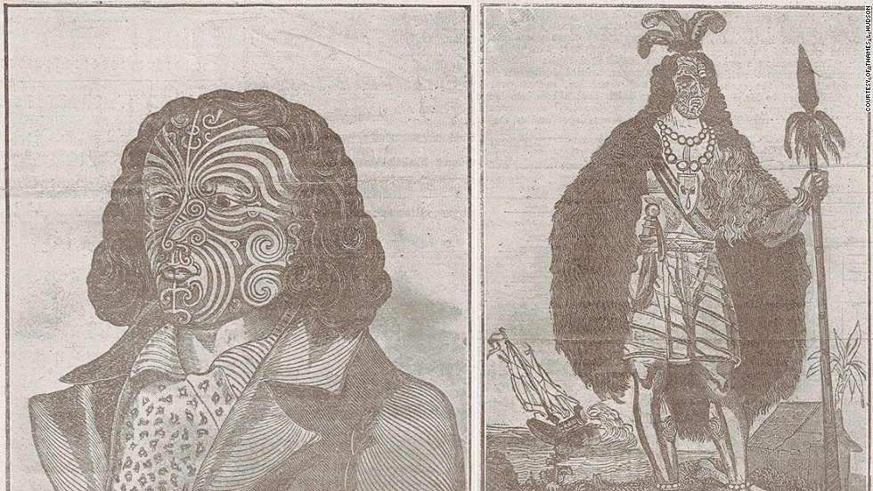 "These engravings of fully costumed Maoris from the early 1800s were made by English sailor Barnet Burns, who himself received a full facial tattoo. When he returned to England in 1835, he styled himself as a ""New Zealand chief."""