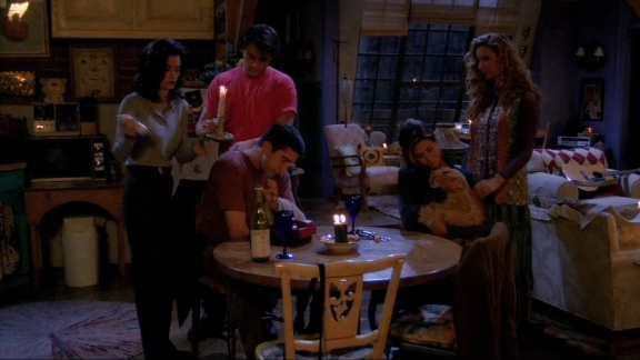 """<strong>""""The One with the Blackout:"""" </strong>Among the season 1 episodes, this one is a favorite. When there's a power outage in NYC, all the """"Friends"""" except for Chandler gather at Monica and Rachel's apartment. Chandler, meanwhile is stuck in an ATM vestibule having a flirtation fail with model-of-the-hour Jill Goodacre. <a href=""""https://www.youtube.com/watch?v=FvJIbvm596w"""" target=""""_blank"""" target=""""_blank"""">""""Gum would be perfection!""""</a>"""