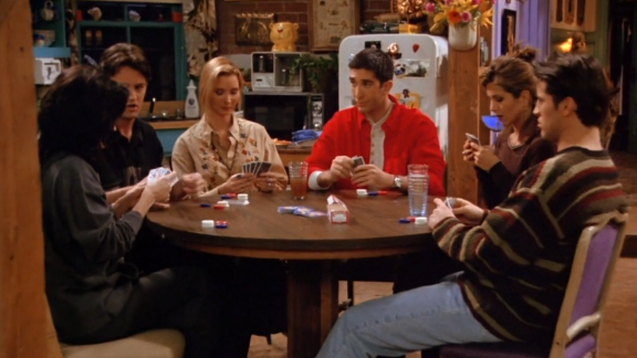 """<strong>""""The One with all the Poker:"""" </strong>Any episode that combined all of the """"Friends"""" and a guys vs. girls faceoff was bound for greatness. But underneath the humor in this season 1 episode was a larger story unfolding of Ross' feelings for Rachel."""