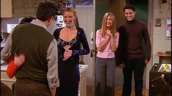 """<strong>""""The One Where Everybody Finds Out:"""" </strong>A running gag in season 5 was the secret relationship between Monica and Chandler. One person was let in on it at a time, and in this episode the cat was let fully out of the bag with hilarious consequences. In the words of Phoebe, <a href=""""https://www.youtube.com/watch?v=LUN2YN0bOi8"""" target=""""_blank"""" target=""""_blank"""">""""they don't know that we know that they know we know.""""</a>"""