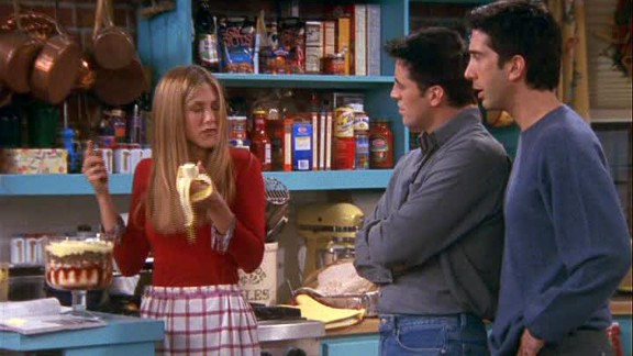 """<strong>""""The One Where Ross Got High:""""</strong> The secrets came tumbling out in this season 6 episode, when the Geller parents come over for Thanksgiving dinner. <a href=""""http://www.nickatnite.com/videos/clip/friends-the-one-where-ross-got-high-clip.html"""" target=""""_blank"""" target=""""_blank"""">Ross owns up to getting high in college</a>; Rachel realizes she made a beef trifle; Chandler and Monica's cover is blown; and Phoebe blurts out her love for Jacques Cousteau. Fantastic timing all around."""