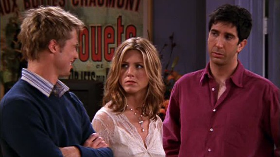 """<strong>""""The One with the Rumor:""""</strong> Jennifer Aniston's then-husband Brad Pitt showed up for some fun in season 8. Pitt played an old friend of Ross' who couldn't stand Rachel in high school, leading to the reveal of a crude rumor the two started about Rachel."""