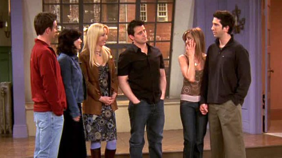 """<strong>""""The Last One, Part 2:""""</strong> After several sessions on Central Perk's orange couch, this group of """"Friends"""" said goodbye on May 6, 2004. They do it in classic """"Friends"""" style with one last """"will they or won't they?"""" moment between Ross and Rachel (a moment that was greatly aided by Phoebe's quick thinking regarding a plane's """"left phalange""""). As they exited Monica's apartment for the last time, they decided to grab a coffee. Cue Chandler asking with perfect timing, """"Sure -- where?"""""""