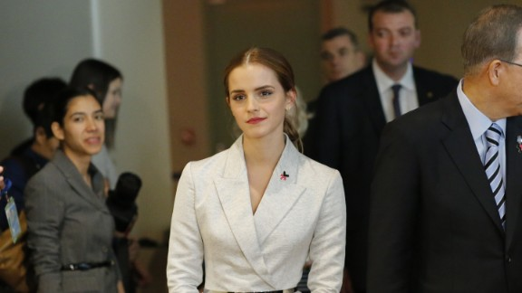 Actress Emma Watson, a U.N. goodwill ambassador, joins U.N. Secretary-General Ban Ki-moon for the launch of the HeForShe campaign in September 2014. Watson