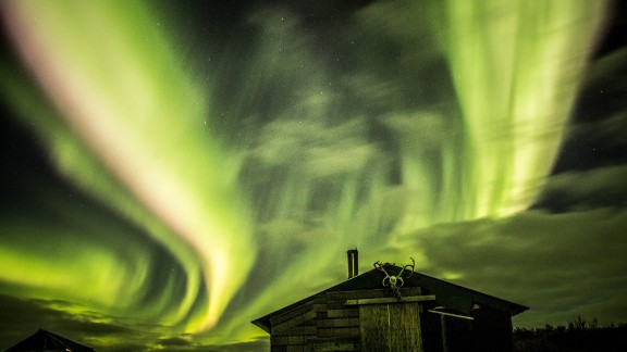 The Northern Lights, or aurora borealis, put on a fantastic display near Alaska