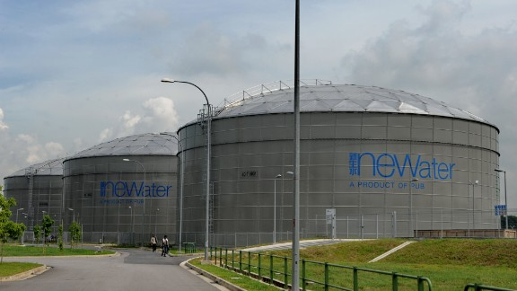 Singapore has set a precedent for water sourcing through its  NEWater plants where sewage water is filtered to standards usable as drinking water. Pictured, the membranes through which water is processed at the NEWater plant to remove solids, microorganisms and other contaminants.