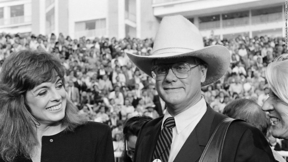 "Hollywood actor Larry Hagman, pictured with fellow former ""Dallas"" star Linda Gray, is among the celebrities who have been attracted to Longchamp."