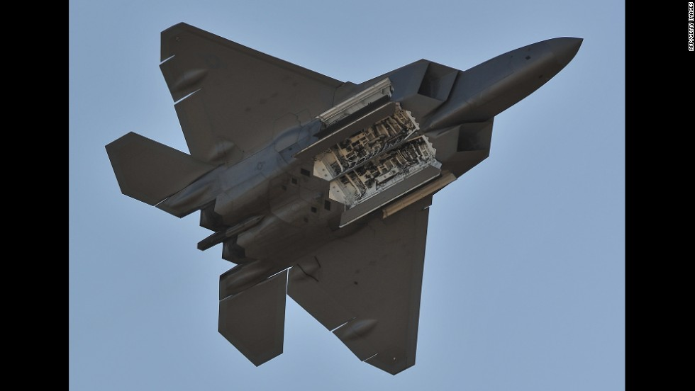 U.S. Air Force F-22 Raptors saw their first combat during strikes on ISIS targets in Syria, the Pentagon said. The single-seat, twin-engine stealth fighter has a top speed of almost 1,500 mph. Here, a Raptor performs during the Australian International Airshow in March 2013.