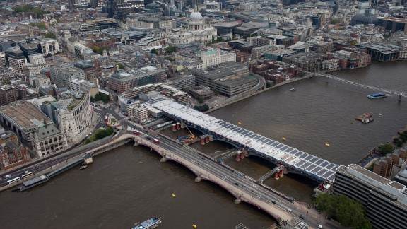 The world's largest solar-powered bridge is located on the river Thames in the City of London.