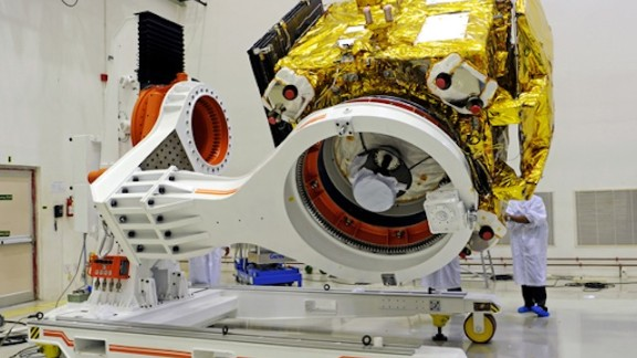 The Mars Orbiter spacecraft prepares for a prelaunch test at Satish Dhawan Space Centre SHAR in Srihairkota.