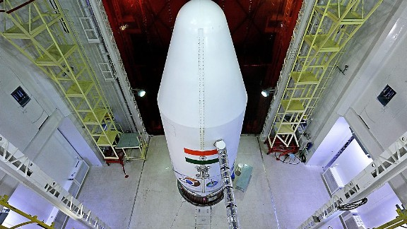 The PSLV-C25 launch vehicle is pictured with the heat shield closed.