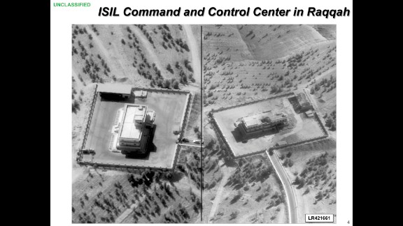 This before-and-after image, provided by the U.S. Department of Defense, shows what is purported to be an ISIS command center that was targeted by airstrikes in Raqqa, Syria.