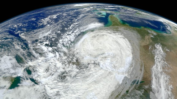 The planet could see as many as 20 more hurricanes and tropical storms each year by the end of the century because of climate change, according to a 2013 study published in the Proceedings of the National Academy of Sciences. This image shows Superstorm Sandy bearing down on the New Jersey coast in 2012.
