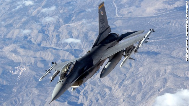 A U.S. pilot died Sunday in a crash of an F-16 Fighting Falcon, the same aircraft pictured in this 2006 training exercise.