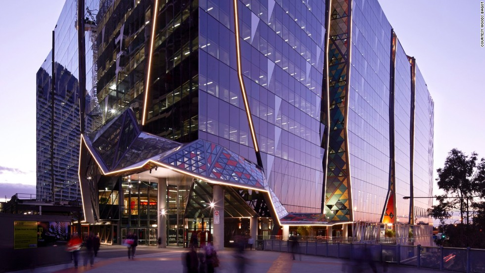 National Australia Bank's new building at 700 Bourke St. in Melbourne features triangular, cathedral-like facade panels. They're colored according to the amount of sunlight they receive.<strong><br />Category: </strong>Office<strong><br />Architects: </strong>Woods Bagot (Australia)