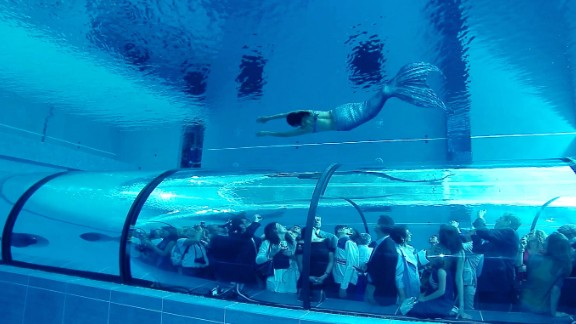 At the Hotel Millepini Terme in Montegrotto Terme, Italy, the pool features an underwater viewing tunnel.