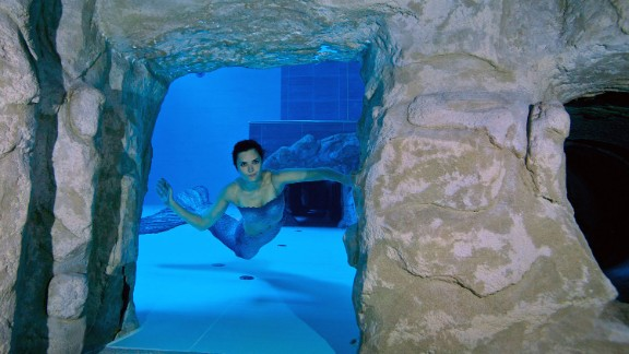 Illaria Moliari, another Italian freediving champ, dressed as a mermaid to mark the pool's inauguration.