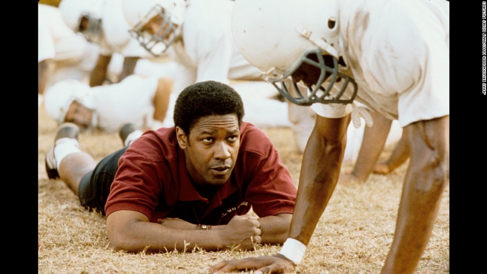 "<strong>""Remember the Titans"" (2000)</strong>: Yes, this is a Disney film through and through, right on down to synchronized dance routines and a feel-good ending. But Washington's Coach Boone is impossible not to love here, and his firm but gracious approach to uniting a freshly integrated football team will probably make you cry. Just a warning."