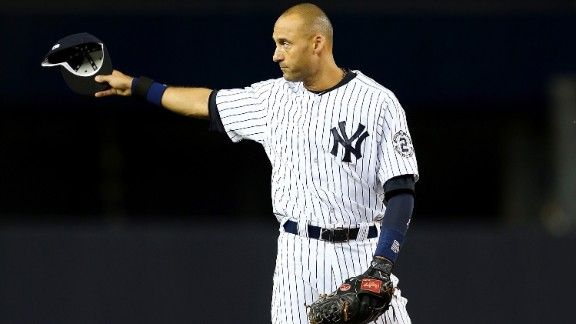 Jeter gestures to the fans during his last game at Yankee Stadium.