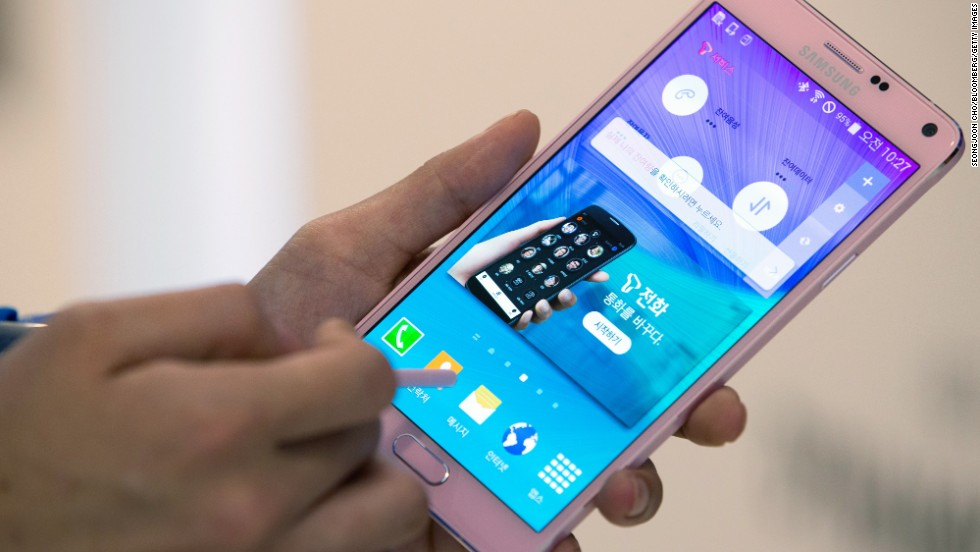 "Samsung released their latest ""phablet,"" the Galaxy Note 4, which has a vivid, 5.7-inch screen and a fingerprint scanner, and comes equipped with a stylus."