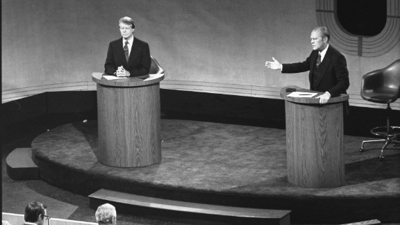 Carter and President Gerald Ford debate domestic policy at the Walnut Street Theater in Philadelphia on September 23, 1976. It was the first of three Ford-Carter presidential debates.