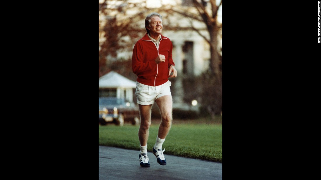 "Jimmy Carter, the 39th president, has been known to enjoy jogging. He collapsed while <a href=""http://www.si.com/vault/1979/09/24/823995/jimmy-carter-runs-into-the-wall-it-happens--sudden-utter-exhaustion--to-a-lot-of-inexperienced-road-runners-who-try-too-hard-too-soon-but-when-the-tottering-competitor-happens-to-be-the-president-of-the-united-states-it-can-be-a"">running a 10-kilometer race</a> in Maryland in 1979."