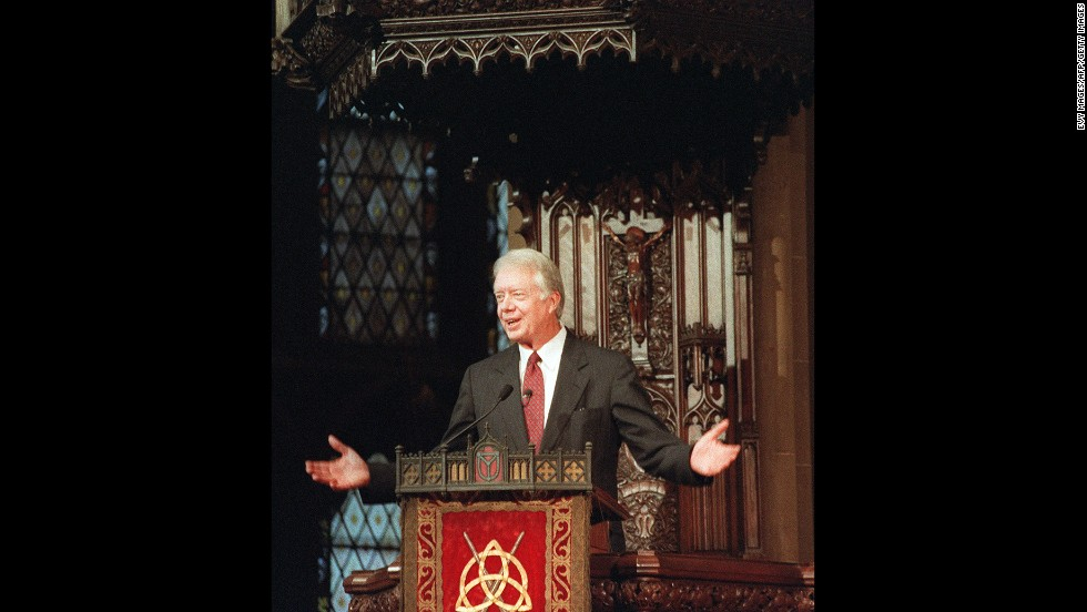 "Carter addresses a United Nations interfaith service at New York's Trinity Church in September 1991. His speech was entitled ""The Present Role of the United Nations in a Changing World."""