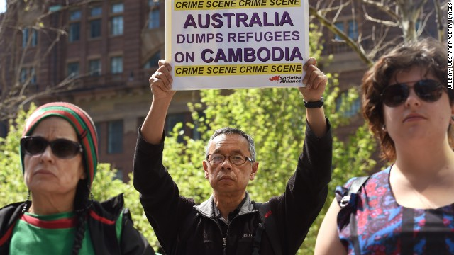 A protester in Sydney demonstrates against the controversial plan to resettle refugees in Cambodia.