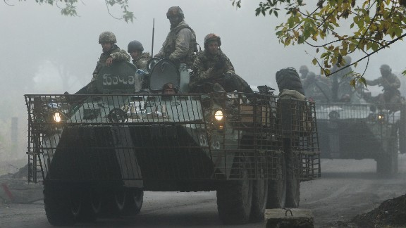 Ukrainian servicemen patrol in the Donetsk region on Friday, September 26.
