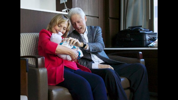 """Former President Bill Clinton tweeted """"Charlotte, your grandmother @HillaryClinton and I couldn't be happier!"""""""