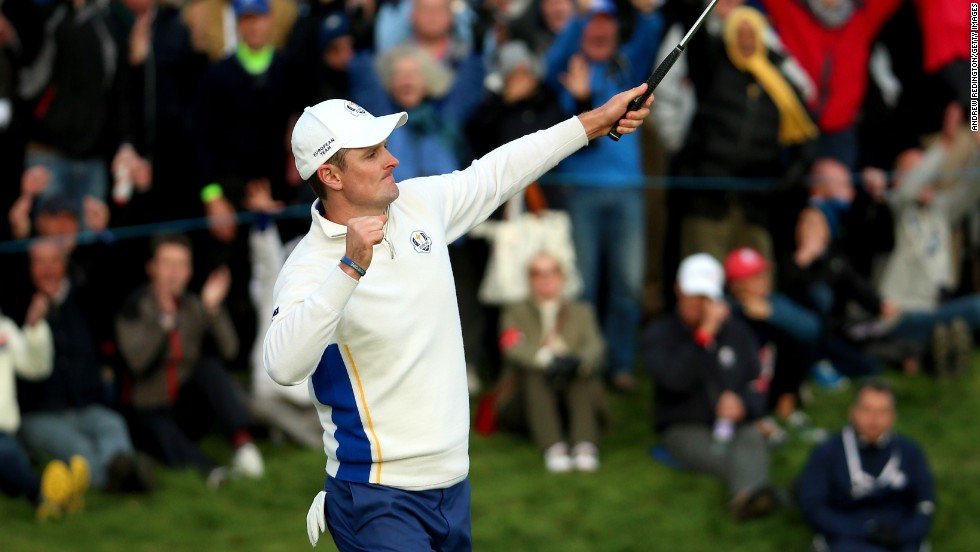 Player of the tournament? England's Justin Rose has secured 3½ points in four matches for Europe so far. In the morning fourballs, he teamed up again with Henrik Stenson to beat Bubba Watson and Matt Kuchar 3&2. In the afternoon foursomes he claimed a vital ½ point with Germany's Martin Kaymer against Jordan Spieth and Patrick Reed.