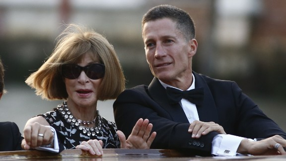 Anna Wintour, Vogue magazine's editor-in-chief, and Bruce Bozzi Jr., the executive vice president of the Palm Restaurant Group, arrive to the private ceremony on September 27. The wedding was marked with a star-studded bash at the Aman Canal Grande Venice resort, housed in the 16th-century Palazzo Papadopoli. Guests arrived via taxi boat.