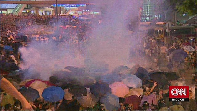 CNN crew gassed during Hong Kong protests