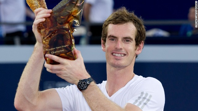 Andy Murray lifts the trophy at the inaugural Shenzhen Open in China after beating Tommy Robredon in the final.