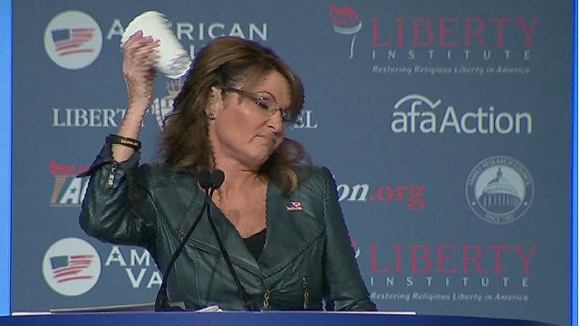 Palin mocks Obama's coffee cup salute