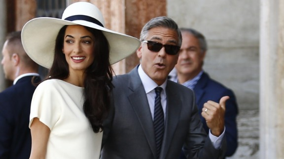 George Clooney and  Amal Clooney, née Alamuddin.